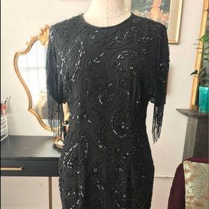 1920s flapper vintage beaded dress